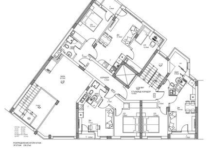 Скица етаж 2. Жилищна сграда, кв. Кючук Париж, Пловдив
