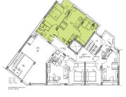 Скица етаж 1, ап. 1. Жилищна сграда, кв. Кючук Париж, гр. Пловдив
