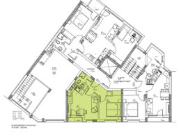 Скица етаж 1, ап. 2. Жилищна сграда, кв. Кючук Париж