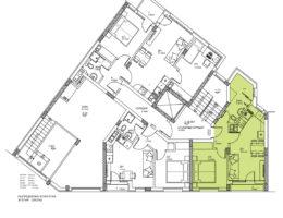 Скица етаж 1, ап. 3. Жилищна сграда, кв. Кючук Париж
