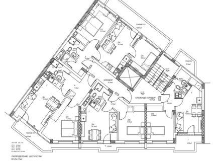 Скица с разпределение на етаж 6. Жилищна сграда - кв. Кючук Париж