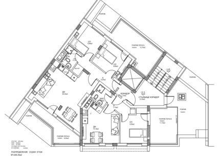 Схема на апартаментите на етаж 7. Жилищна сграда кв. Кючук Париж, Пловдив