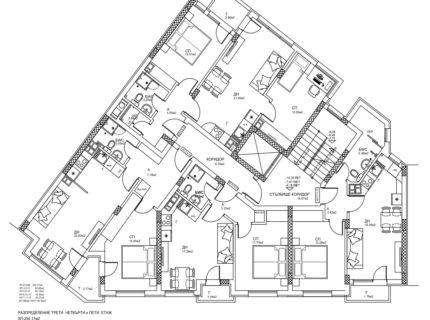 Скица на разпределение на 3, 4 и 5 етаж на жилищна сграда, кв. Кючук Париж
