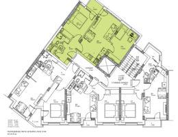 Скица на апартамент 4, 8 и 12 на етаж 3, 4 и 5. Жилищна сграда, кв. Кючук Париж