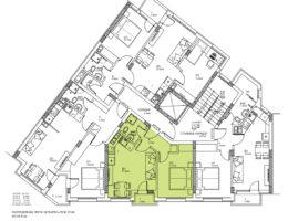 Скица на апартамент 6, 10 и 14 на етаж 3, 4 и 5. Жилищна сграда, кв. Кючук Париж
